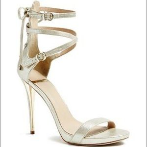 Marciano Calixx gold shimmer strappy stiletto